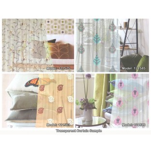 White beige cream color traditional damask embroidery pattern  with transparent polyester fabric leaf flower buds sheer curtain