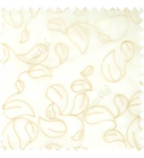Beige grey color traditional paisley pattern embroidery leaves design with transparent polyester background sheer curtain