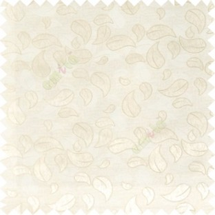 White cream color traditional paisley pattern embroidery leaves design with thick polyester background main curtain