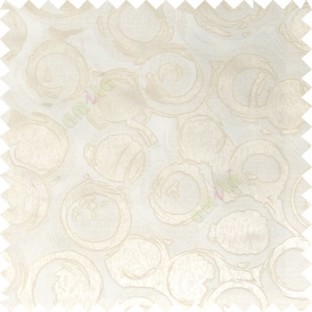 White cream color geometric circles texture surface weaving pattern with thick polyester background main curtain