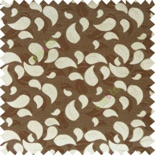 Dark brown grey color traditional paisley pattern embroidery leaves design with thick polyester background main curtain