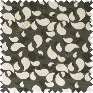 Black beige color traditional paisley pattern embroidery leaves design with thick polyester background main curtain