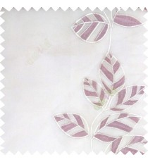 Purple white color Floral leaves vertical flowing pattern with transparent polyester background sheer curtain