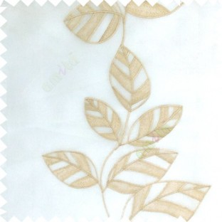 Brown white color Floral leaves vertical flowing pattern with transparent polyester background sheer curtain