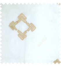 Cream and brown color geometric square shapes sharp edge angles texture embroidery patterns with transparent fabric sheer curtain