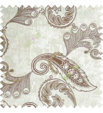 Dark brown white color traditional paisley pattern floral leaves swirls circles texture surface with polyester thick background main curtain