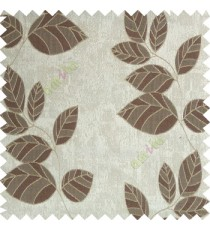 Dark brown grey color natural floral pattern leaves texture flowing hanging leaf with polyester thick background main curtain