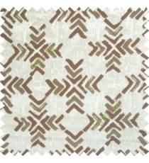 Dark brown grey color geometric square shapes sharp edge angles texture embroidery patterns move forward backward  up and down arrows  with transparent fabric main curtain