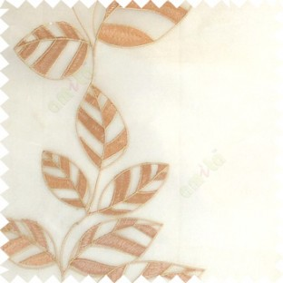 Copper brown white color Floral leaves vertical flowing pattern with transparent polyester background sheer curtain