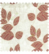 Mehroon gold grey color natural floral pattern leaves texture flowing hanging leaf with polyester thick background main curtain