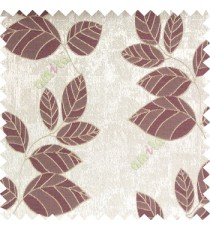 Purple grey brown color natural floral pattern leaves texture flowing hanging leaf with polyester thick background main curtain