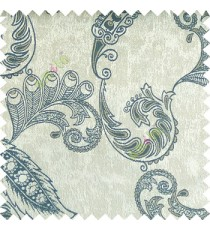 Blue grey brown color traditional paisley pattern floral leaves swirl circles texture surface with polyester thick background main curtain
