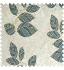 Blue grey brown color natural floral pattern leaves texture flowing hanging leaf with polyester thick background main curtain