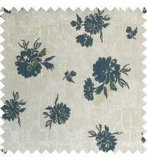 Blue grey brown color beautiful flower designs texture surface floral buds with thick polyester background main curtain