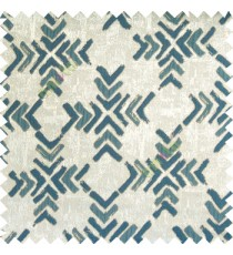 Blue grey brown color geometric square shapes sharp edge angles texture embroidery patterns move forward backward  up and down arrows  with transparent fabric main curtain