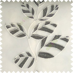 Black white color Floral leaves vertical flowing pattern with transparent polyester background sheer curtain