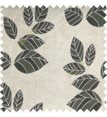 Black grey  color natural floral pattern leaves texture flowing hanging leaf with polyester thick background main curtain