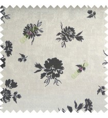 Black grey color beautiful flower designs texture surface floral buds with thick polyester background main curtain