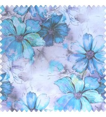 Beautiful natural blue purple black color daisy flower pattern scratches shiny background fabric leaf designs poly fabric main curtain