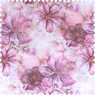 Beautiful natural purple pink cream color daisy flower pattern scratches shiny background fabric leaf designs poly fabric main curtain
