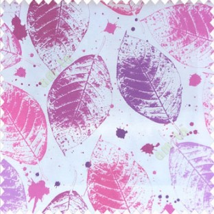 Pink purple grey color natural big leaf designs colorful combination color splashes poly fabric main curtain