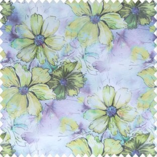 Beautiful natural yellow purple black cream green color daisy flower pattern scratches shiny background fabric leaf designs poly fabric main curtain
