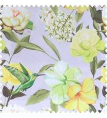Green yellow black grey cream color beautiful javakusum flower and small flowers bunch long leaf lotus hummingbird watercolor print poly fabric main curtain