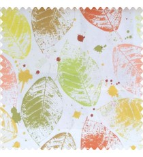 Green yellow brown orange color natural big leaf designs colorful combination color splashes poly fabric main curtain