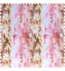 Abstract colorful pink brown white yellow color vertical color flowing bold lines watercolor print color swatches random colors poly fabric main curtain