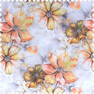 Beautiful natural orange black purple yellow grey color daisy flower pattern scratches shiny background fabric leaf designs poly fabric main curtain