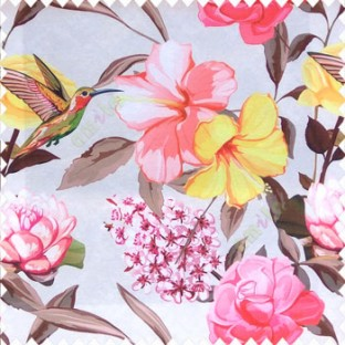 Red yellow pink green brown cream color beautiful javakusum flower and small flowers bunch long leaf lotus hummingbird watercolor print poly fabric main curtain