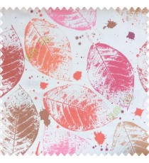 Pink brown grey red color natural big leaf designs colorful combination color splashes poly fabric main curtain