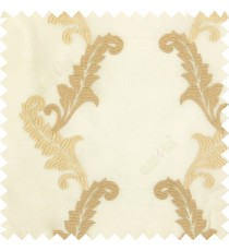 Beige white cream color beautiful floral swirls embroidery patterns with transparent polyester background sheer curtain
