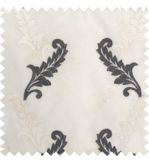 Black white cream color beautiful floral swirls embroidery patterns with transparent polyester background sheer curtain
