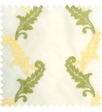 Green cream white color beautiful floral swirls embroidery patterns with transparent polyester background sheer curtain
