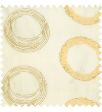 Cream gold white color geometric big circles digital lines horizontal fine stripes embroidery designs with transparent polyester background sheer curtain