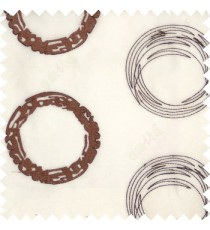 Dark chocolate brown white color geometric big circles digital lines horizontal fine stripes embroidery designs with transparent polyester background sheer curtain