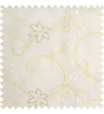 White cream silver color beautiful floral long swirls small leaf embroidery designs with transparent polyester base fabric flowers sheer curtain