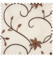 Dark chocolate brown white color beautiful floral long swirls small leaf embroidery designs with transparent polyester base fabric flowers sheer curtain