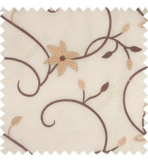 Brown white gold color beautiful floral long swirls small leaf embroidery designs with transparent polyester base fabric flowers sheer curtain