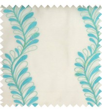 Blue white color vertical flowing floral long leaf embroidery designs with polyester transparent background sheer curtain