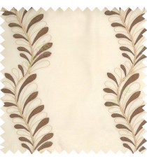 Dark brown white cream color vertical flowing floral long leaf embroidery designs with polyester transparent background sheer curtain