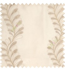 White grey cream color vertical flowing floral long leaf embroidery designs with polyester transparent background sheer curtain
