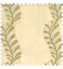 Gold green color vertical flowing floral long leaf embroidery designs with polyester transparent background sheer curtain