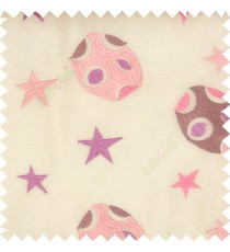 Purple pink white color kids embroidery designs stars circles planets horizontal lines with transparent polyester background sheer curtain