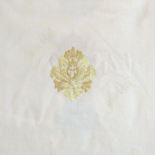 Cream green color small damask pattern embroidery cotton finished sheer curtain