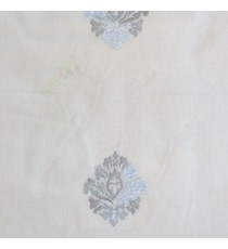 Blue pink color small damask pattern embroidery cotton finished sheer curtain