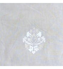 Cream white color small damask pattern embroidery cotton finished sheer curtain