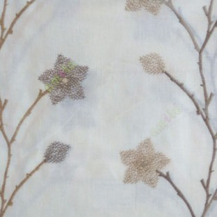 Brown cream color floral twig embroidery pattern flower natural cotton buds cotton finished sheer curtain