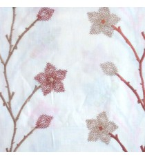 Orange cream brown color floral twig embroidery pattern flower natural cotton buds cotton finished sheer curtain